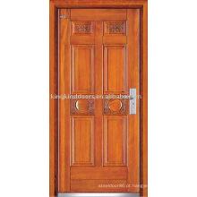 Aço porta de madeira Exterior (JKD-235) para Design de porta blindada da China Top 10 marca porta
