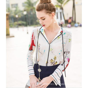 Spring Printed Charming Pattern V-Neck Women′s Shirt