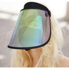Boné de visor de sol transparente arco-íris len