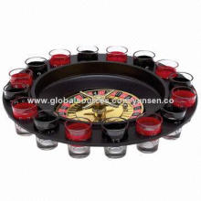 Roulette Wheel Drinking Game Set, 16 Shot Glasses
