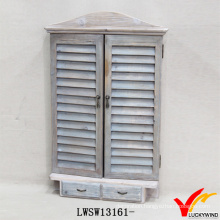 Decorative Farming Decoration Wood Shutter Mirror with Drawers
