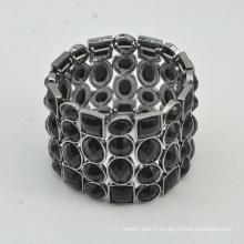 VAGULA haute qualité Gun métal noir Bracelet en cristal