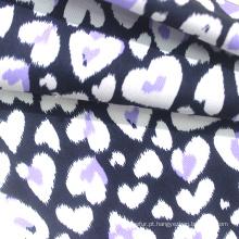 Tecido de roupa de bebê 100% algodão em malha estilo moderno com impressão de coração para pijamas