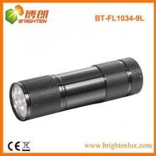 Venta de fábrica baratos promocionales 9 llevó antorcha de aluminio, 9 LED linterna de aluminio de antorcha