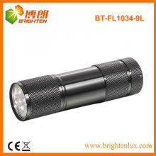 Factory Supply Promotional 9 led Aluminum cheap small flashlight with 3*AAA battery