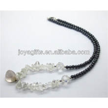 Natural crystal chip with crystal tumbled stone pendant necklace