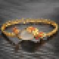 Damen Vintage vergoldet 18k Gold Armband Achat Stein Pfau Armband
