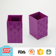 Hot selling durable plastic office bright color pen holder with square shape