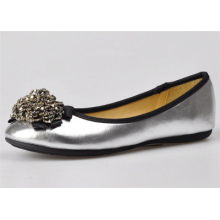 Silver / Gold Color Womens Ballerina Flats With Bead Flower Upper