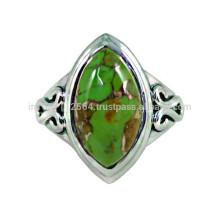 Natürlicher grüner Kupfer Türkis Attraktiver Edelstein & 925 Sterling Silber Einfacher Design Ring
