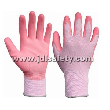Colorful Polyester Work Glove with PU Palm Coated (PN8007)
