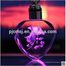 Chaveiro de cristal puro do laser do coração 3D para presentes ou decorações
