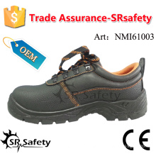 SRSAFETY 2016 hot selling industrial safety shoes emboss cow split leather safety shoes black steel safety working shoes