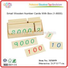 Montessori Material Spielzeug Kleine hölzerne Zahl Karten mit Box