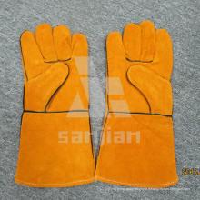 Gant de sûreté de soudure de catégorie d'Ab / Bc de cuir fendu jaune de pleine paume avec du CE