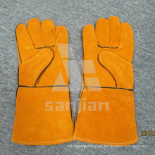 Full Palm Yellow Split Leather Ab/Bc Grade Welding Safety Glove with CE