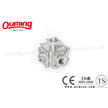 Four Way Threaded End Ball Valve with Mouting Pad