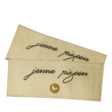 Fashion Design Custom Logo End Fold Golden Metallic Thread Damask Woven Clothing Labels for Garment Apparel