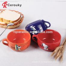 Taza de la sopa de cerámica oversize sensible al calor de Snoopy