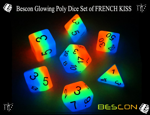 Bescon Glowing Poly Dice Set of FRENCH KISS-2