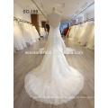 2017 Späteste Entwurfs-herrliches weißes Brautkleid-französisches Spitze-Hochzeitskleid trägerloses alibaba Hochzeitskleid