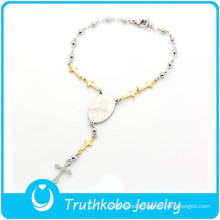 TKB-B0086 Religious jewelry rosary beads two tone 316L stainless steel charm bracelets with Virgin crucifix beads extended chain