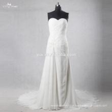 Beaded Vestidos de casamento de algodão sem mangas Bridal Dresses
