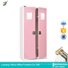 Durable colorful steel 2 door locker cabinet design wardrobe dressing room/clothing locker