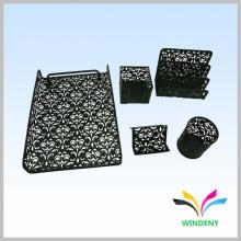Material de escritório preto 5 em 1 artigos de papelaria personalizados de metal para alunos