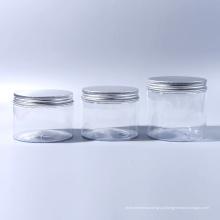 100ml / 120ml / 180ml / 250ml / 300ml / 350ml / 400ml / 520ml Frasco plástico largo da boca do animal de estimação para doces para o alimento para o gelado para a categoria do alimento cosmético com tampões de alumínio