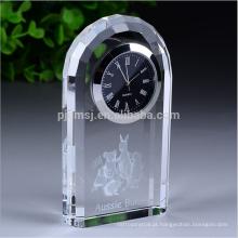 Logotipo personalizado de Alta Qualidade Casa Decoração de Escritório relógio de mesa de cristal