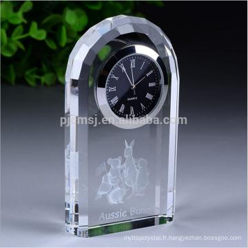 Horloge de bureau en cristal de bureau personnalisé de haute qualité de décoration de bureau de logo