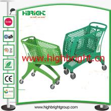 Todo o carrinho de carrinho de compras de plástico com cabo de plástico e pés