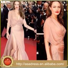 CN02 сексуальная Анджелина Джоли в Каннах 2015 шифон Вечерние платья знаменитости Красный ковер платья