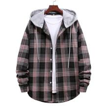 Fashion Plaid Long Sleeve Cotton High Quality Cardigan Hooded Shirt