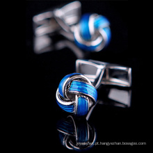Luxo azul nó francês abotoaduras (Hlk30303)