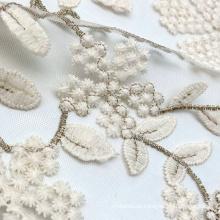 Tecido de malha de malha de rede bordada de ouro lurex bicolour floral tricotado em náilon bordado de alta qualidade