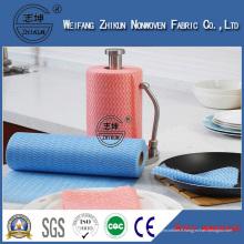 Tissu de nettoyage en gros non-tissé de chiffon de Spunlace coloré