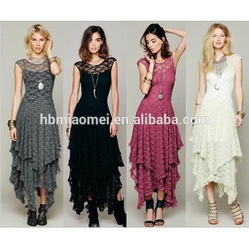 Ropa de moda de la venta caliente de las mujeres Irregular de alta y baja falda de encaje largo sexy vestido de las mujeres