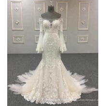 China Nach Maß Alibaba Hochzeits-Kleid-Nixe Applique Long Sleeve Wedding Dresses 2018