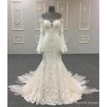 Китай На Заказ Свадебные Алибаба Платье Русалка Аппликация С Длинным Рукавом Свадебные Платья 2018