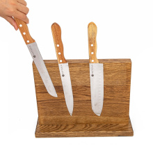 natural color 13'' inch acacia wood magnetic knife holder custom logo package