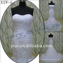 РСВ-6 2011 горячий продавать новый дизайн дамы модные элегантные подгонять реальные аппликацией и рюшами Русалка свадебное платье