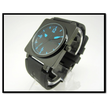 High Quality Men′s Business Silicone Band Trap Black Quartz Watch Silicone Watch Strap