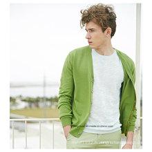 Светло-зеленый V-образным вырезом свитера для мужчин с кардиганом с кнопкой