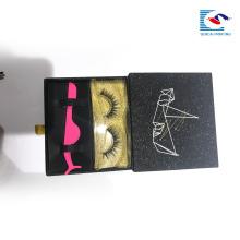 Caja de papel del cajón del brillo negro del logotipo personalizado para el empaquetado de las pestañas