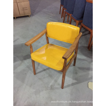 Frische gelbe Farbe Leder gepolstert Massivholz Restaurant Stühle