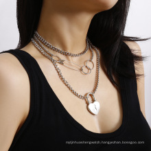 creative multi-layer lock heart paper clip shape necklaces women,custom charm chain necklace jewelry oem