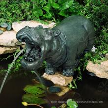 Petite fontaine d'eau d'hippopotame en bronze de décoration de jardin en métal