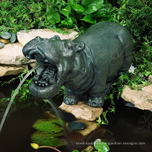 Garden Decoration Metal Craft Small Bronze Hippo Water Fountain